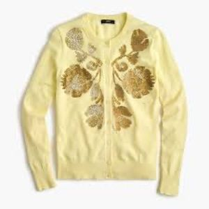 J Crew Yellow Gold Sequin Embellished Cardigan XS